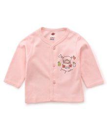 Zero Full Sleeves Vest Teddy Print - Peach