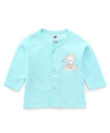 Zero Full Sleeves Vest Teddy Print - Sea Green