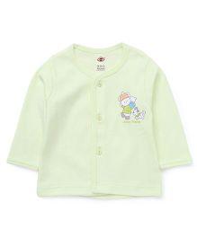Zero Full Sleeves Vest Teddy Print - Green