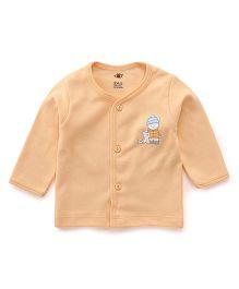 Zero Full Sleeves Vest Teddy Print - Light Orange