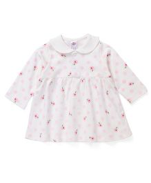 Zero Full Sleeves Peter Pan Collar Floral Printed Frock - Off White Pink