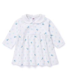 Zero Full Sleeves Peter Pan Collar Floral Printed Frock - Off White Blue