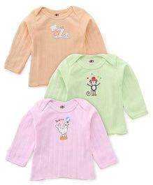 Zero Full Sleeves Vest Pack Of 3 - Pink Green Orange