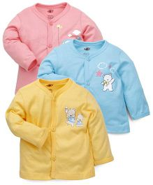 Zero Full Sleeves Vests Pack of 3 - Pink Blue Yellow
