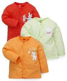 Zero Full Sleeves Vests Pack of 3 - Red Light Green Orange