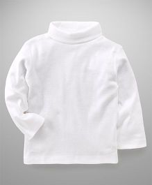 Zero Full Sleeves High Neck Tee Solid Color - White