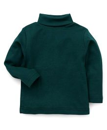 Zero Full Sleeves High Neck Solid Color Tee - Green