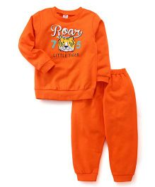 Zero Full Sleeves T-Shirt And Bottoms Set Roar Print - Orange