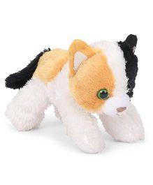 Wild Republic Hug Ems Calico Cat Soft Toy Orange White - Length 18 cm