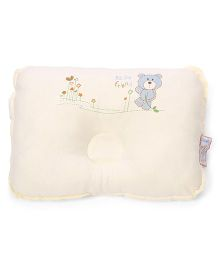 Baby Pillow With Bear Print - Cream