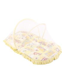 Mee Mee Matress With Moquito Net And Pillow Set Printed - Yellow