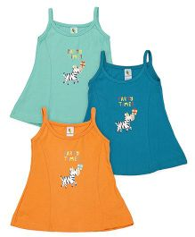 Cucumber Singlet Frocks Pack of 3 - Orange & Green
