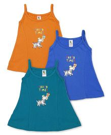 Cucumber Singlet Frocks Pack of 3 - Orange Blue Green