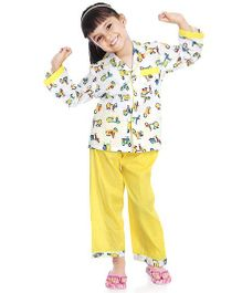 Little Pockets Store Scooter Print Nightsuit - Yellow