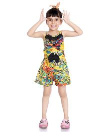 Little Pockets Store Multi Print Jumpsuit With A Bow - Yellow