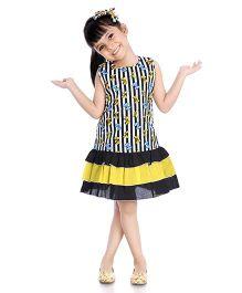 Little Pockets Store Stripes & Bows Print Frilled Dress - Black