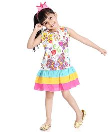 Little Pockets Store Butterfly Print Frilled Dress - White