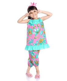 Little Pockets Store Floral Print Frilled Top And Capri Night Suit - Pink