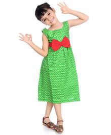 Little Pockets Store Leaf Print Dress With A Big Bow - Green