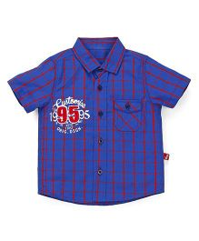 Bodycare Half Sleeves Checks Shirt Number 95 Patch - Blue Red