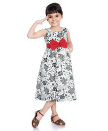 Little Pockets Store Floral Print Dress With A Big Bow - Black
