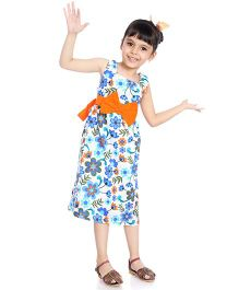 Little Pockets Store Tropical Print Dress With A Big Bow - Blue