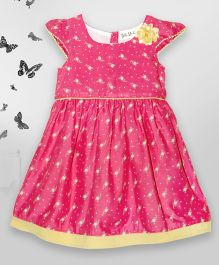 Bella Moda Saturn Print  Dress With Solid Colored Border - Pink