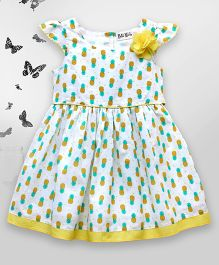 Bella Moda Pineapple Print Dress - Yellow