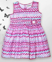 Bella Moda Zig Zag Print Dress - Pink