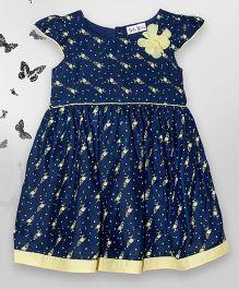 Bella Moda Printed Flower Design Dress With Back Buttons - Blue