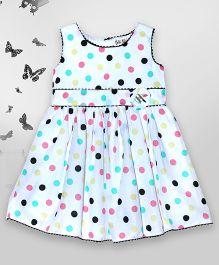 Bella Moda Polka Printed Dress With Button Design - Multicolor