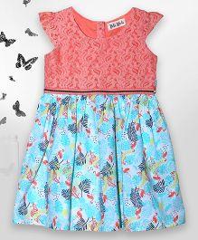 Bella Moda Crane Printed Dress & Bloomer Set - Orange