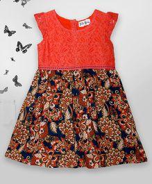 Bella Moda Floral Print Dress & Bloomer Set - Orange