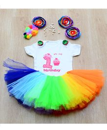 Tu Ti Tu Rainbow First Birthday Tutu Set - Multicolor