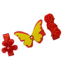 D'chica Set Of 3 Butterfly & Flower Hair Clips For Girls - Red