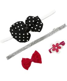 D'chica Set Of 4 Hair Accessories Combo For Girls - Multicolour