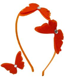 D'chica Pretty Butterfly Set Of 2 Hair Accessories For Girls - Red