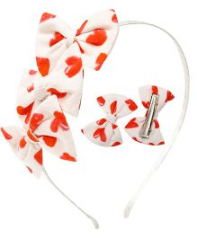 D'chica My Little Sweetheart Set Of 3 Hair Accessories For Girls - Red & White