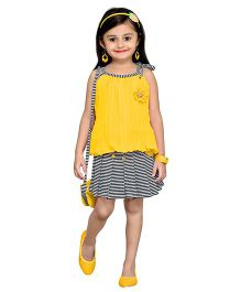 Aarika Striped Skirt & Top With Sling Bag - Yellow