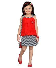 Aarika Striped Skirt & Top With Sling Bag - Red