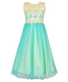Aarika Embroidered Party Wear Gown With Flower Applique - Turquoise