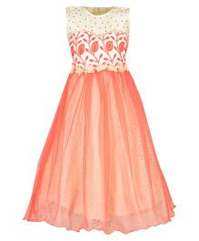 Aarika Embroidered Party Wear Gown With Flower Applique - Peach