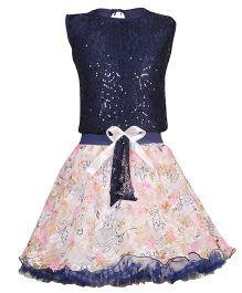 Aarika Sequined Top & Tutu Skirt Set - Pink & Dark Blue