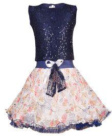 Aarika Sequined Top & Tutu Skirt Set - Red & Dark Blue