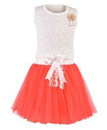Aarika Flower Broach Top With Tutu Skirt - White & Red