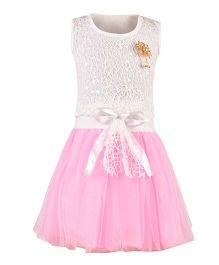 Aarika Flower Broach Top With Tutu Skirt - White & Pink
