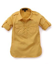 Robo Fry Full Sleeves Pathani Kurta - Golden Yellow