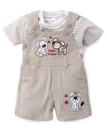 Olio Kids Corduroy Dungaree With Patchwork And T-Shirt - Beige