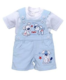 Olio Kids Corduroy Dungaree With Patchwork And T-Shirt - Blue