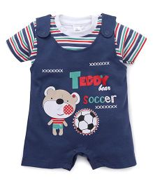 Olio Kids Dungaree With T-Shirt Teddy Print - Navy Blue